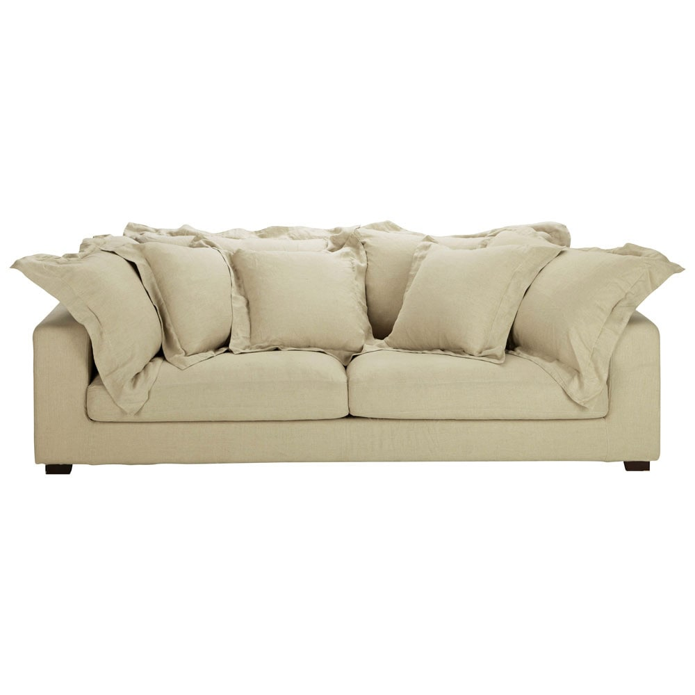 3 4 seater linen sofa in ecru marcus maisons du monde. Black Bedroom Furniture Sets. Home Design Ideas