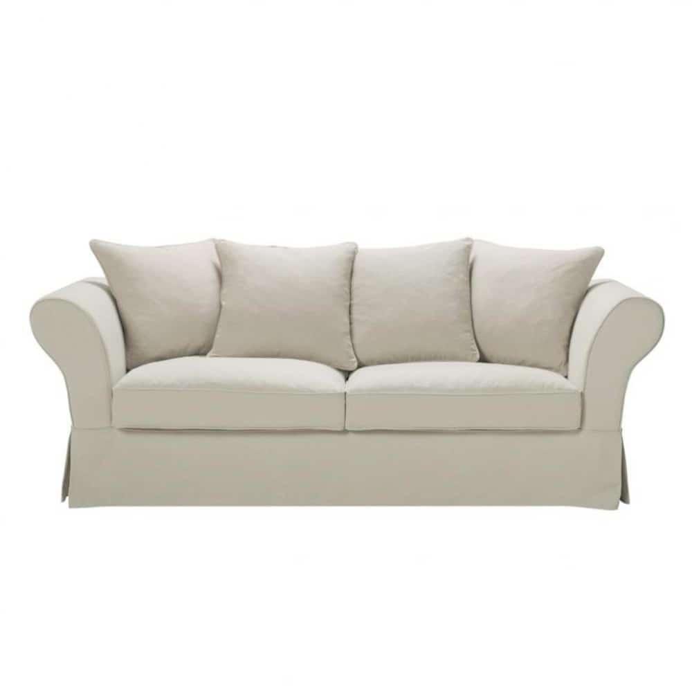 3 4 seater linen sofa in natural colour roma maisons du monde - Sofa roma ...