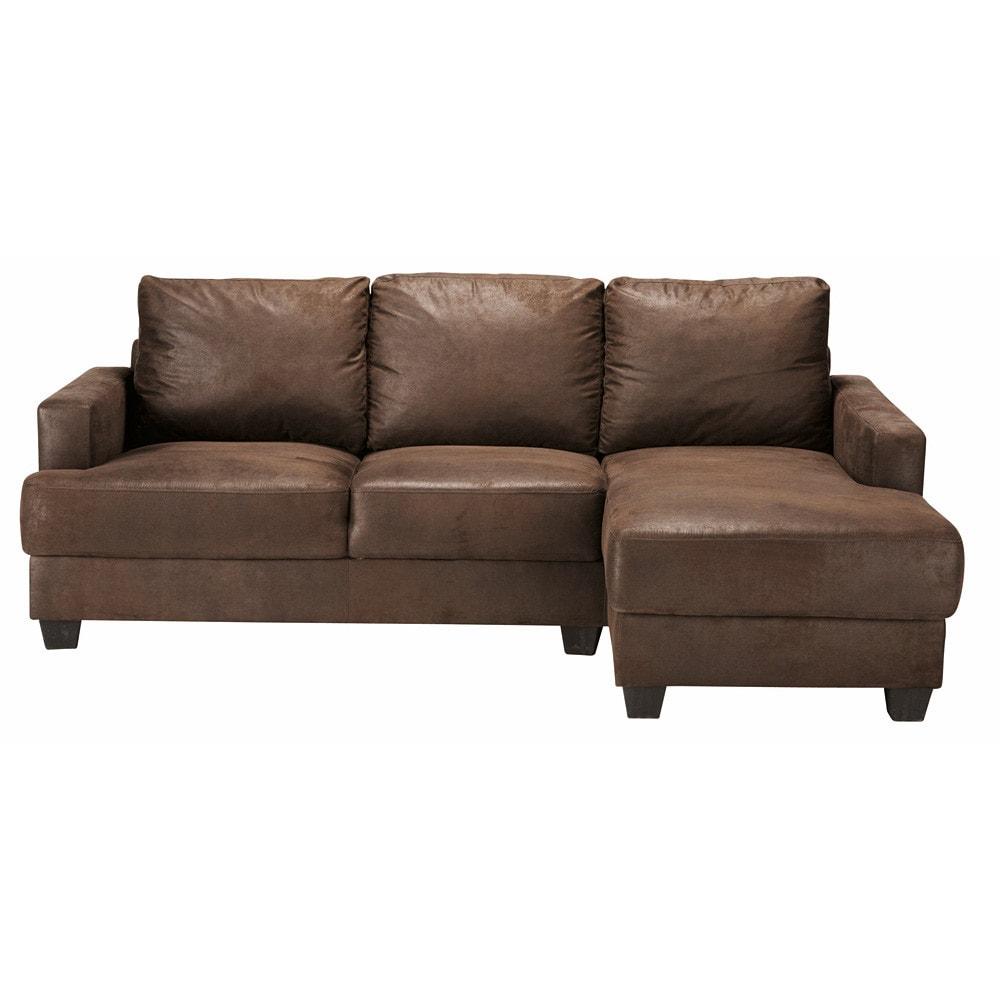 3 4 seater microsuede rhf corner sofa in brown philadelphie maisons du monde. Black Bedroom Furniture Sets. Home Design Ideas