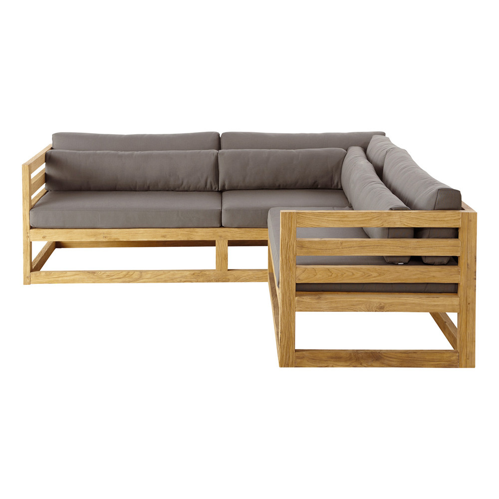 3 4 seater teak garden corner sofa cyclades maisons du monde. Black Bedroom Furniture Sets. Home Design Ideas