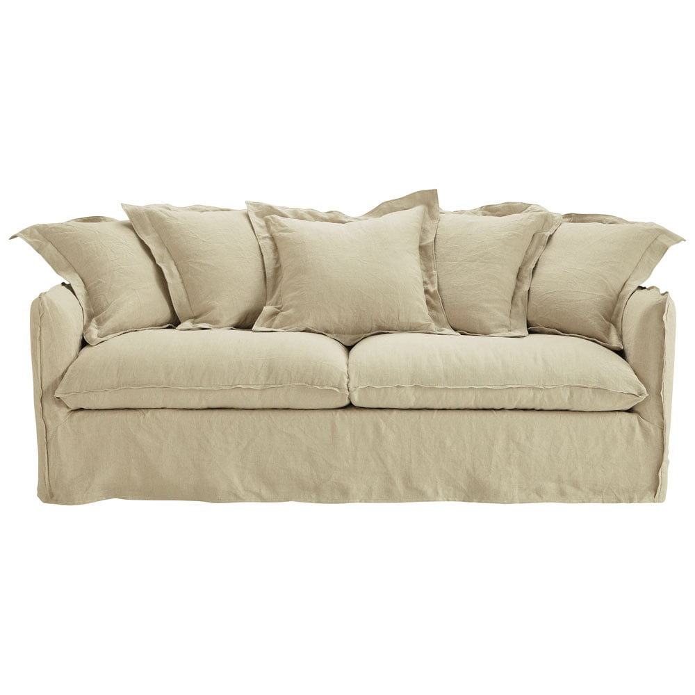 3 4 seater washed linen sofa bed in ecru barcelone for Sofa bed 4 in 1