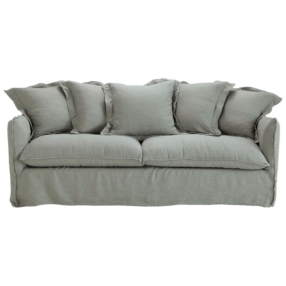 3 4 seater washed linen sofa bed in light grey barcelone maisons du monde. Black Bedroom Furniture Sets. Home Design Ideas