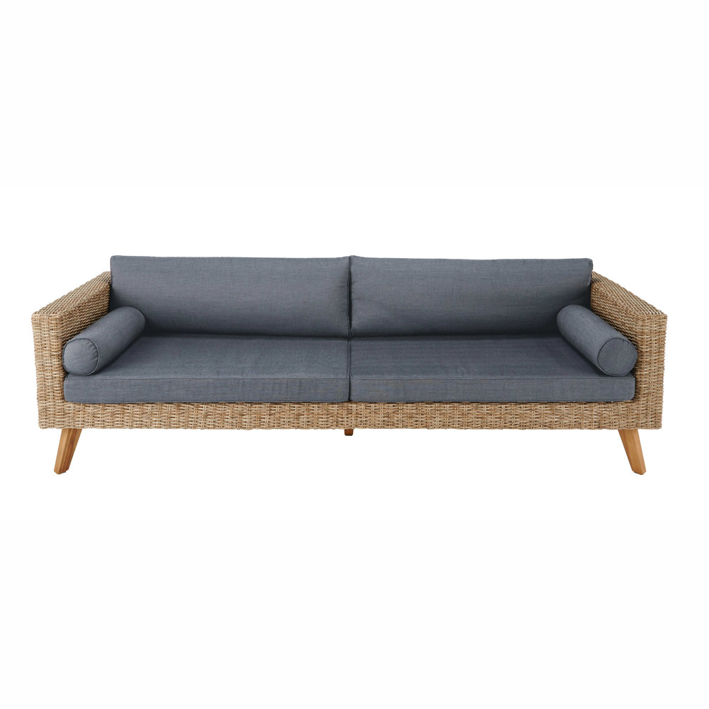 34 seater wicker and canvas garden sofa in charcoal grey - Garden Furniture 4 Seater