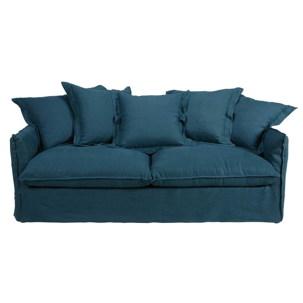 3 4 sitzer sofa mit bezug aus blauem gewaschenem leinen. Black Bedroom Furniture Sets. Home Design Ideas