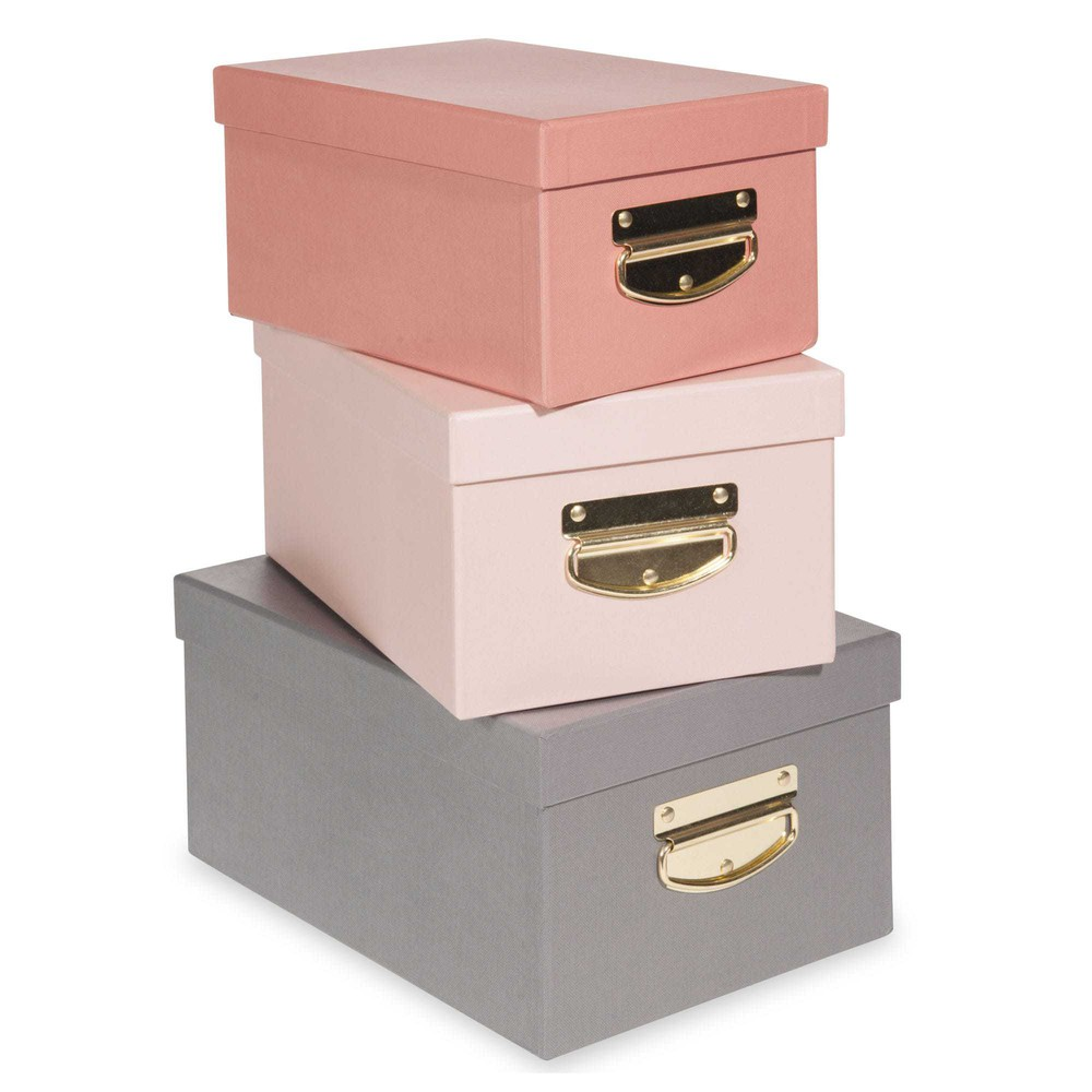 3 bo tes de rangement en carton ava maisons du monde - Decoration boite en carton ...