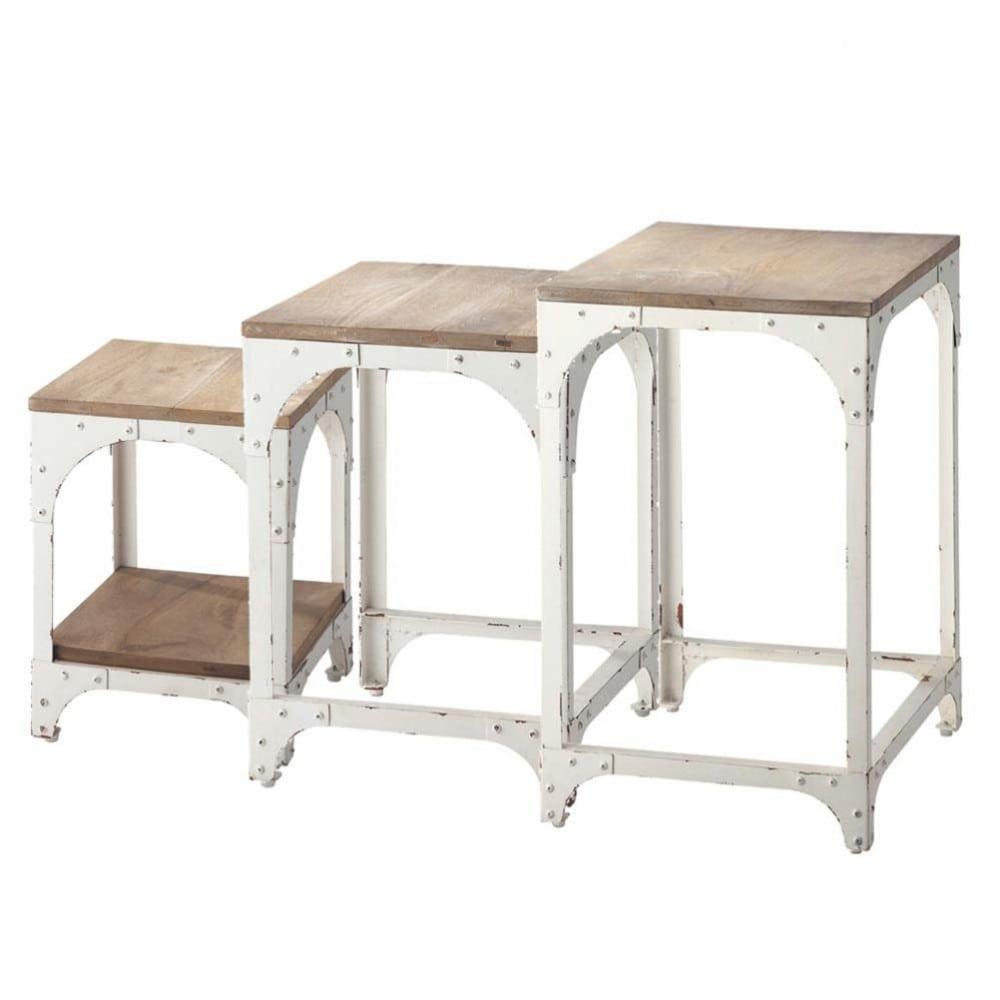 3 bouts de canap gigognes en m tal blancs l 55 cm - Tables gigognes maison du monde ...