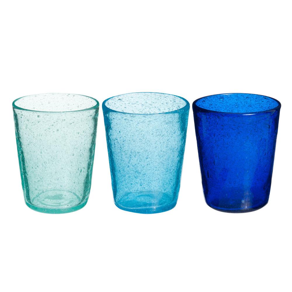 3 bubble glass tumblers in blue maisons du monde - Verre maison du monde ...