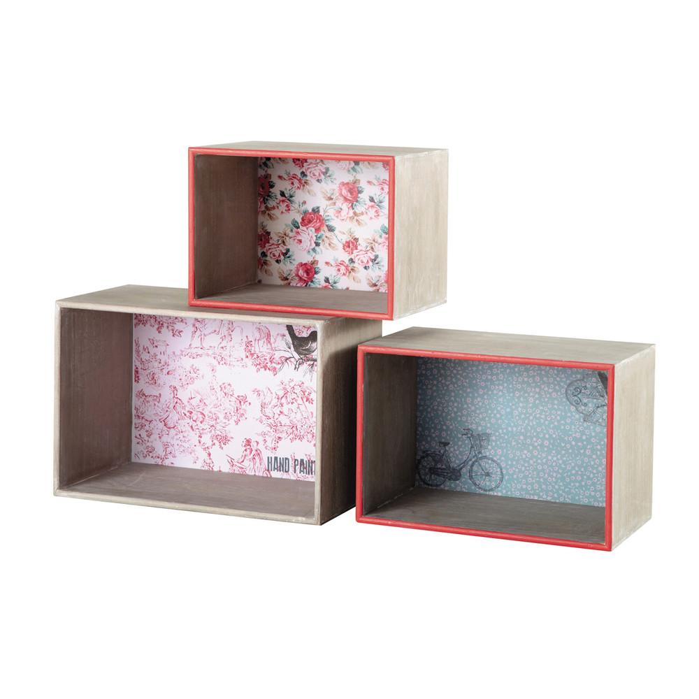 3 casiers de rangement en bois l 32 l 43 cm ang lique - Casiers de rangement en bois ...