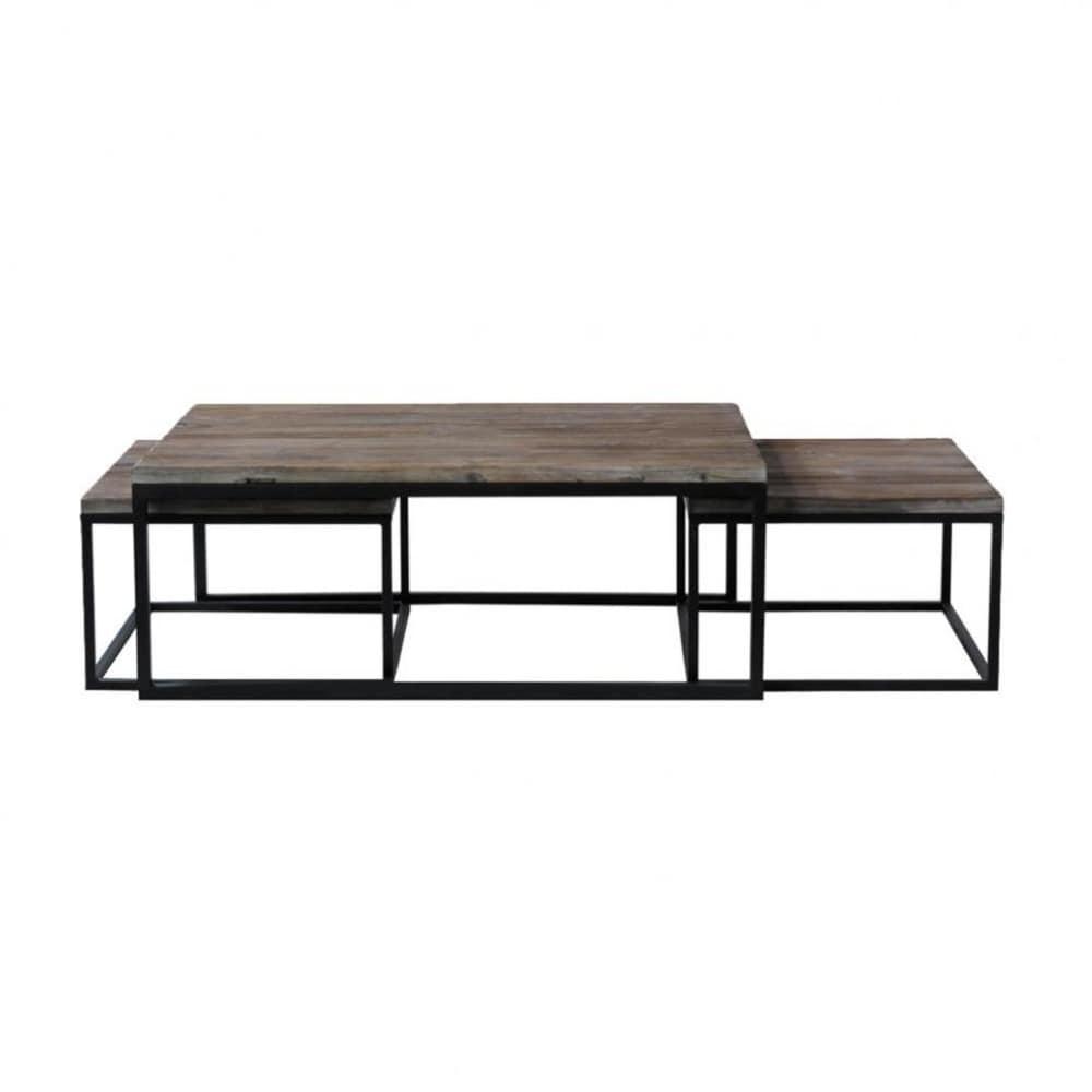 3 couchtische im industrial stil aus holz und metall b 60. Black Bedroom Furniture Sets. Home Design Ideas
