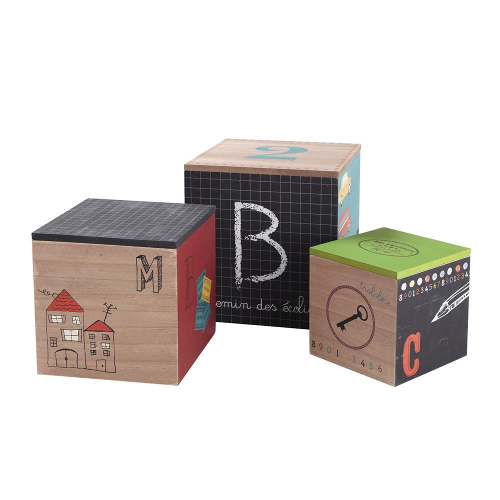 3 cubes de rangement en bois colier maisons du monde - Cubes de rangement en bois ...
