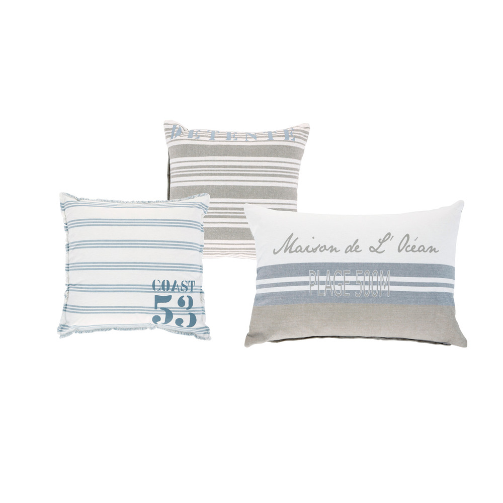 3 cuscini ecru e blu in cotone da 30 x 30 cm a 50 x 50 cm brocante de la mer maisons du monde. Black Bedroom Furniture Sets. Home Design Ideas