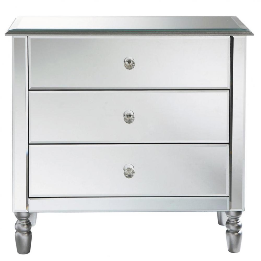 3 drawer chest in silver miroir maisons du monde