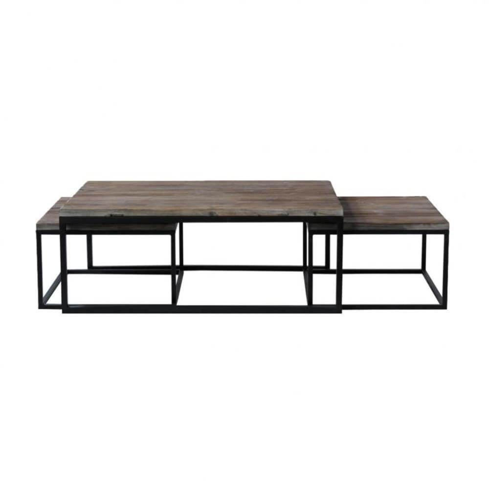3 mesas bajas industriales de madera y metal an 60 cm a for Mesas industriales