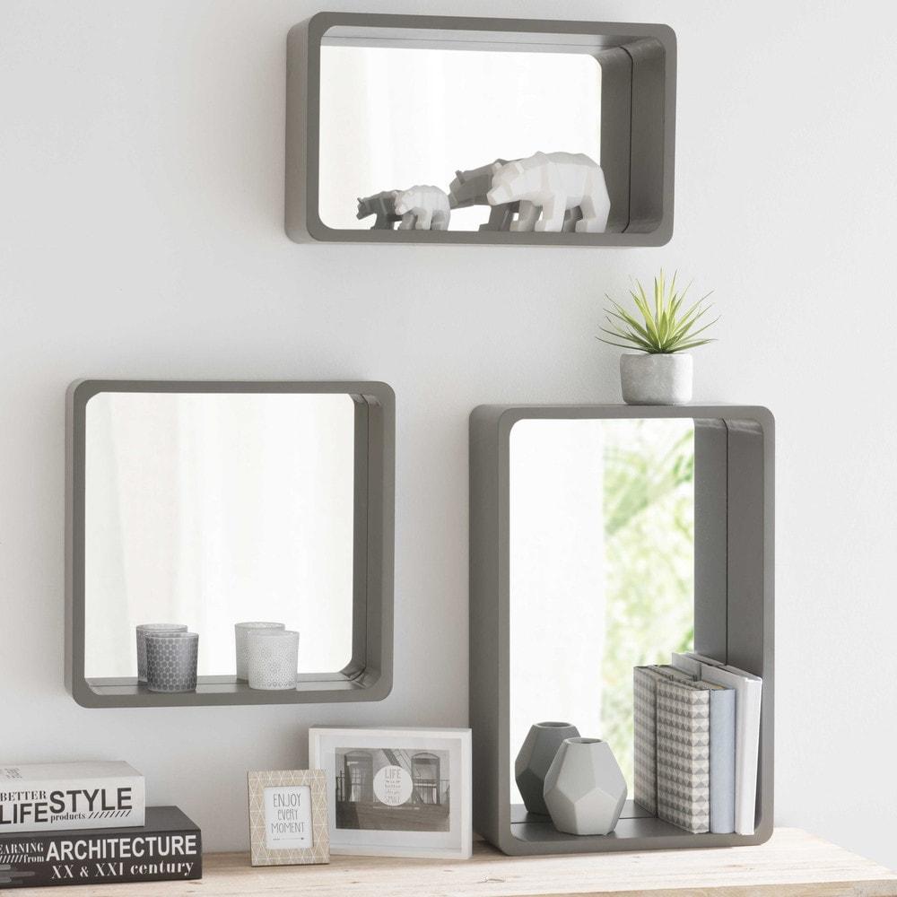 3 miroirs en bois effet b ton gris grafite maisons du monde for Miroir bois gris