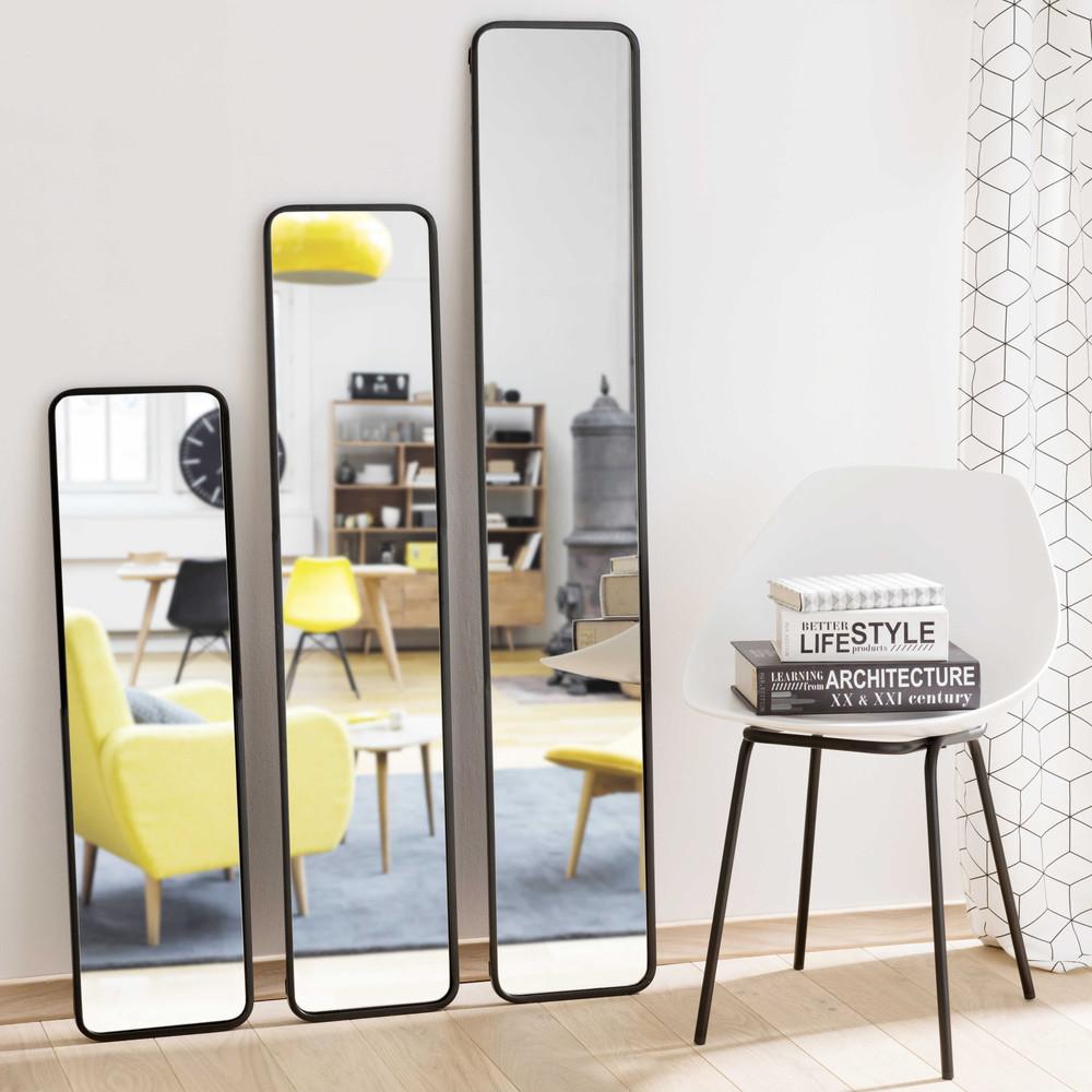 3 miroirs en m tal noir devon maisons du monde for Miroirs rectangulaires