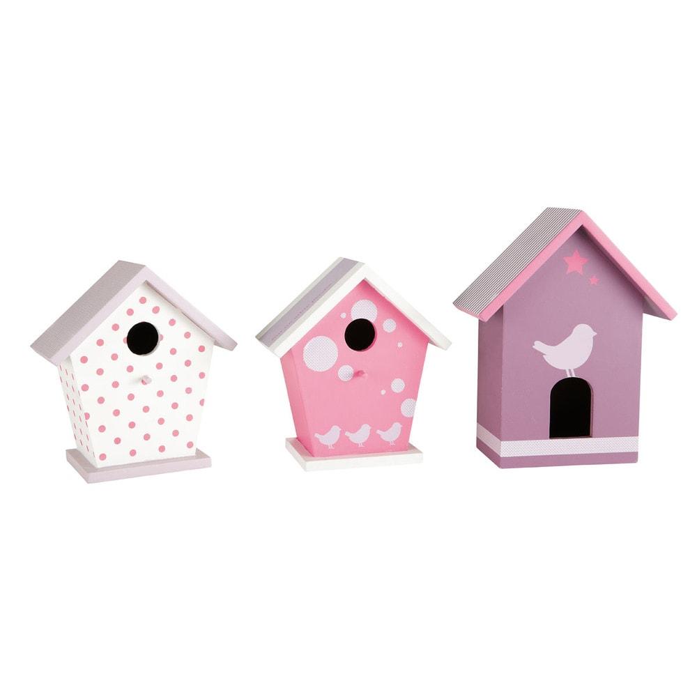 3 nichoirs en bois sweety maisons du monde for Decoration maison en bois