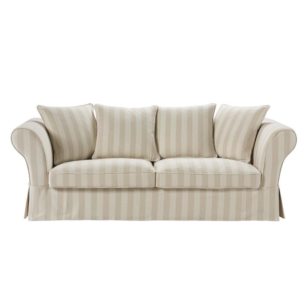 3 seat sofa in beigeivory roma roma maisons du monde - Sofa roma ...