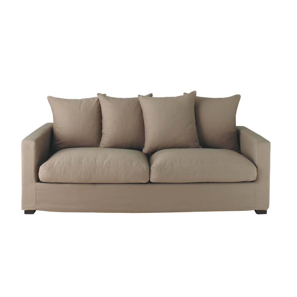 3 seat sofa in taupe leonard leonard maisons du monde. Black Bedroom Furniture Sets. Home Design Ideas