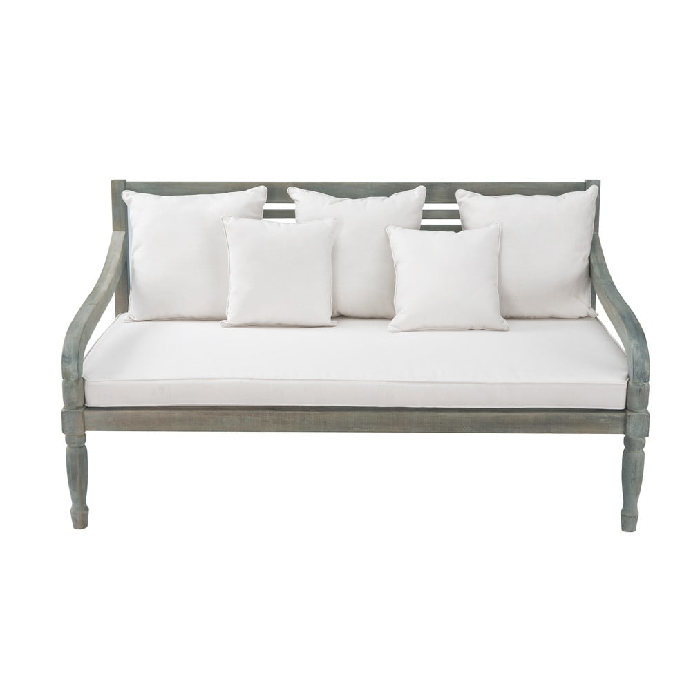 3 Seater Acacia Garden Bench Seat In Grey Chypre Maisons