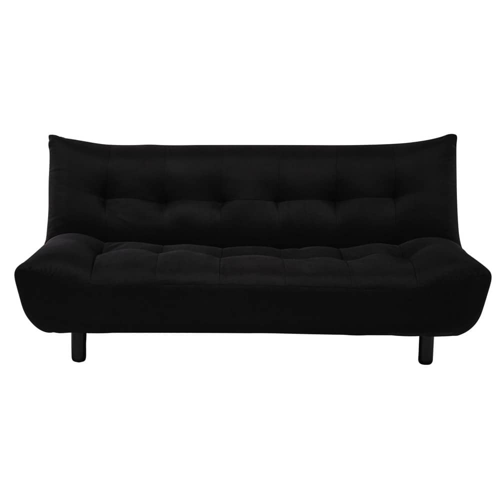 3 seater clic clac sofa bed in black cloud maisons du monde. Black Bedroom Furniture Sets. Home Design Ideas