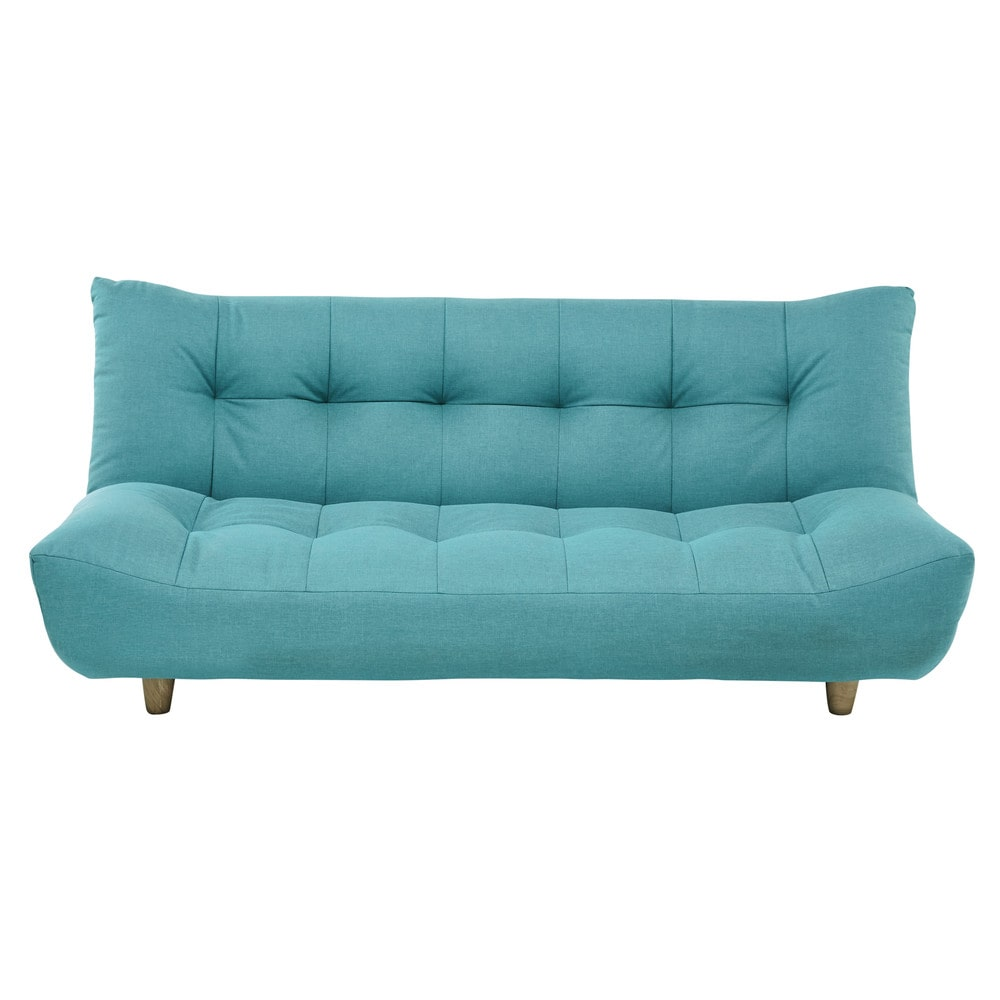 3 seater clic clac sofa bed in turquoise blue cloud