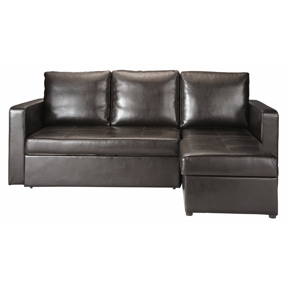 3 seater corner sofa bed in brown toronto maisons du monde for Sofa bed 3 seater