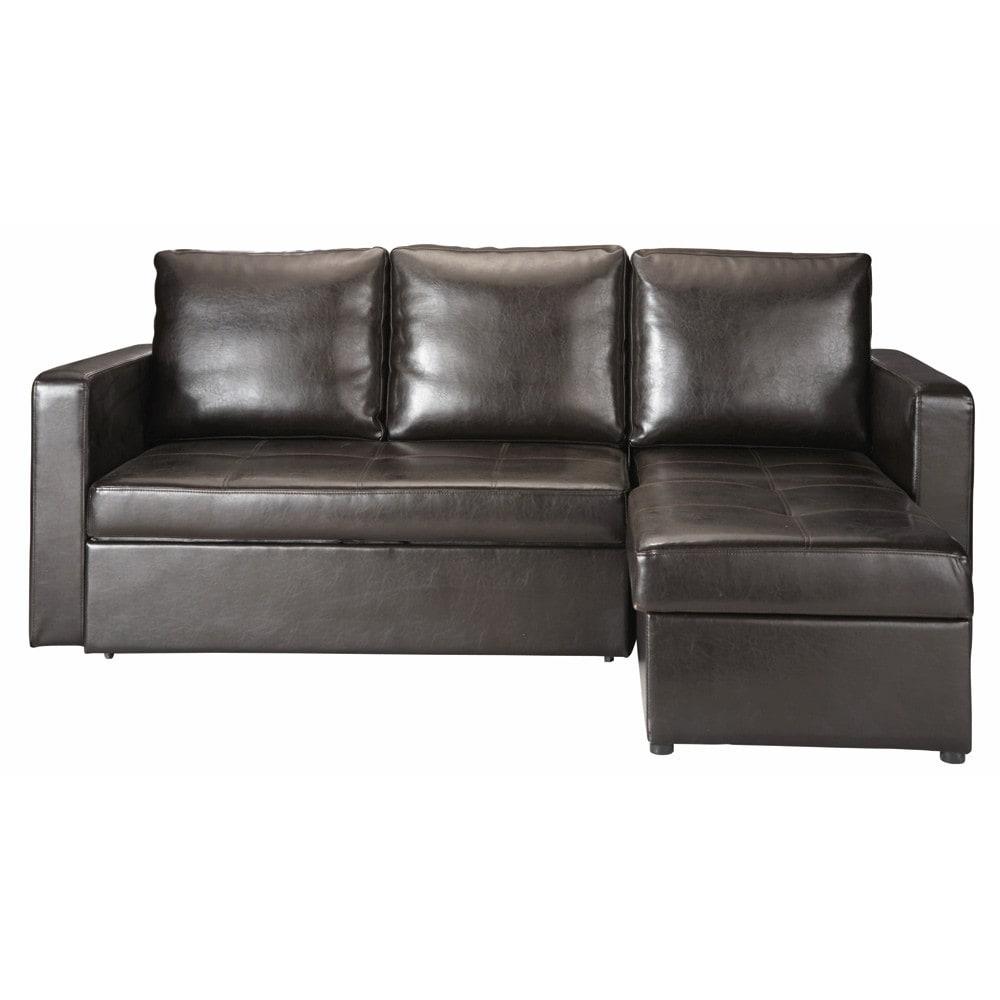 3 seater corner sofa bed in brown toronto maisons du monde. Black Bedroom Furniture Sets. Home Design Ideas