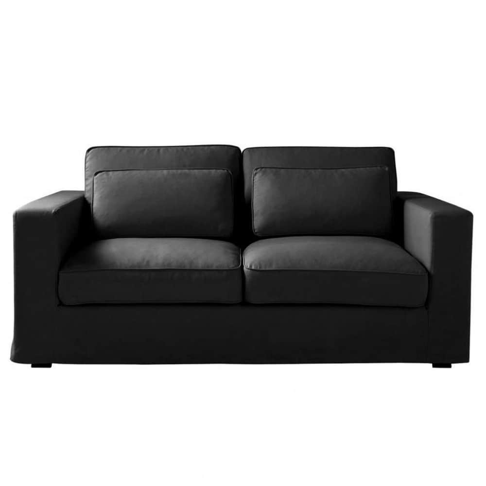 3 seater cotton sofa bed in black milano maisons du monde for Sofa bed 3 seater