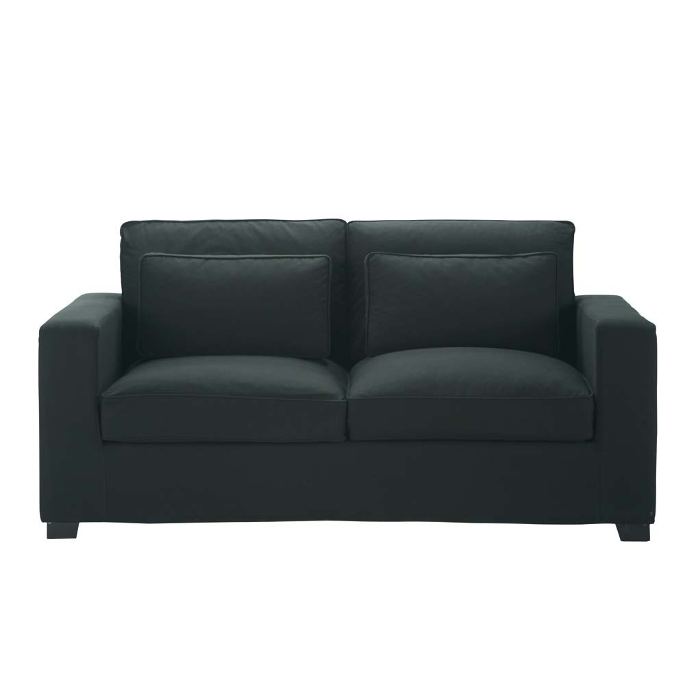 3 seater cotton sofa bed in charcoal grey milano maisons for Sofa bed 5 seater