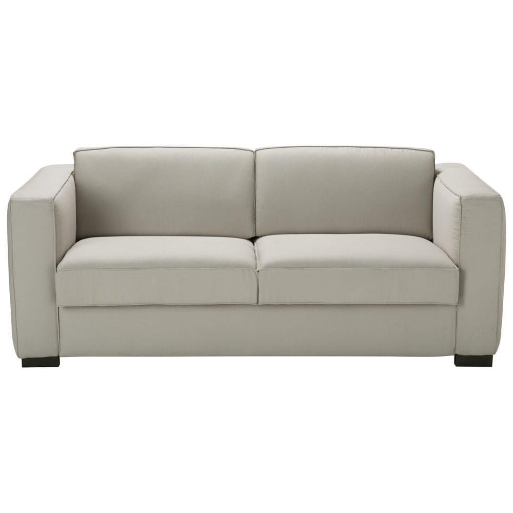3 seater cotton sofa bed in light grey berlin maisons du - Maison du monde sofa ...