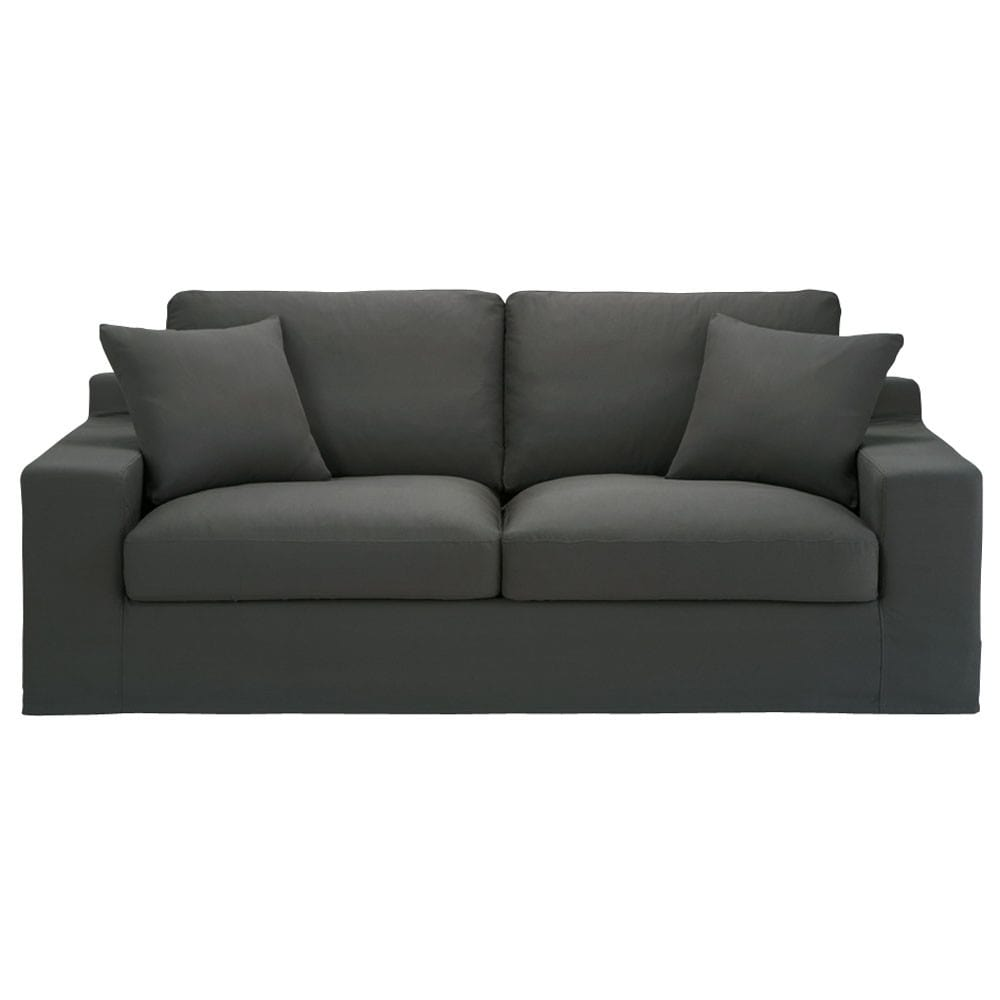 3 seater cotton sofa bed in slate grey stuart maisons du for Sofa bed 3 in 1