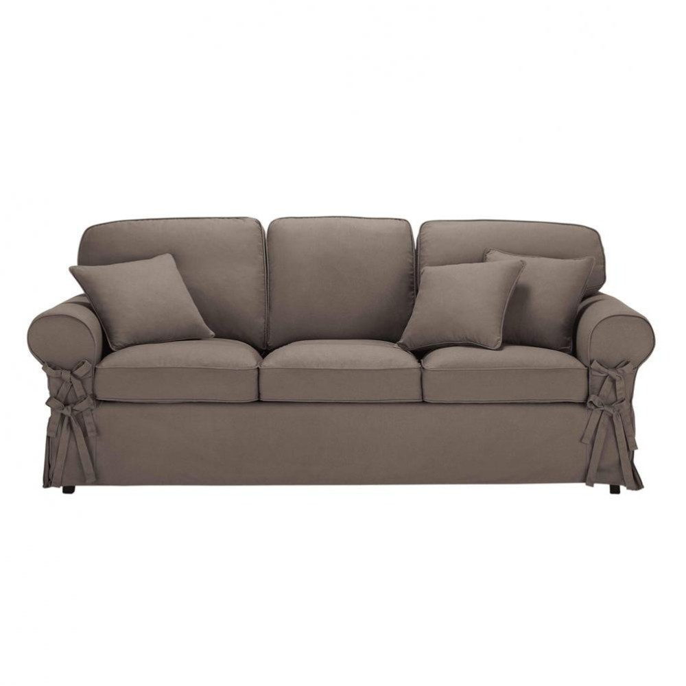 3 seater cotton sofa bed in taupe butterfly maisons du monde for Sofa bed 3 in 1