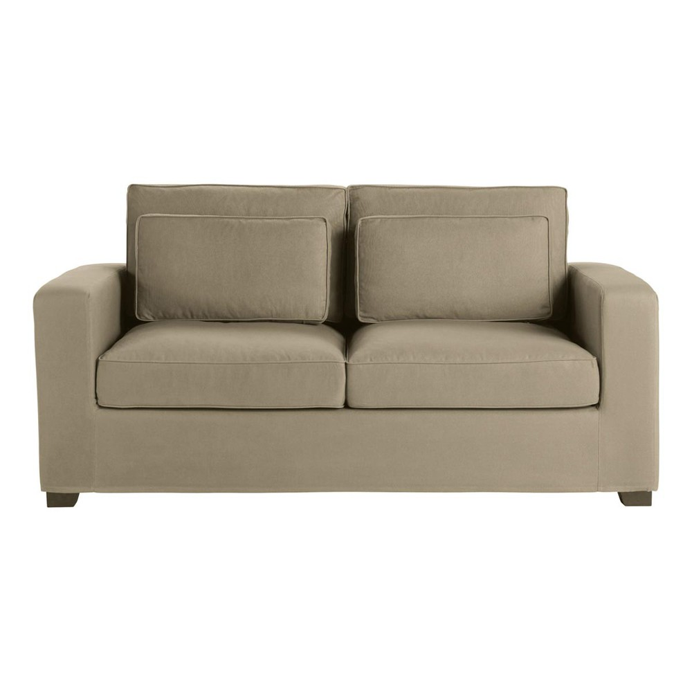 3 seater cotton sofa bed in taupe milano maisons du monde. Black Bedroom Furniture Sets. Home Design Ideas