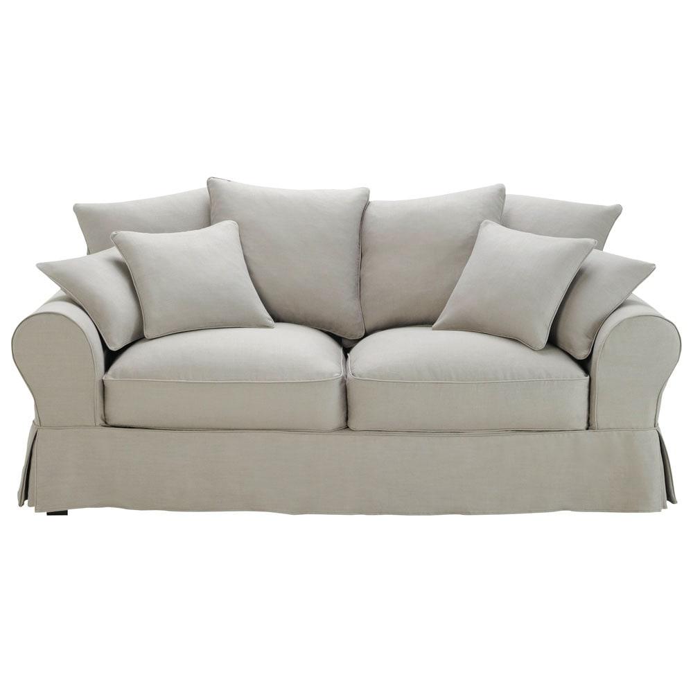 3 seater cotton sofa in light grey bastide maisons du monde for Canape 3 places avec pouf