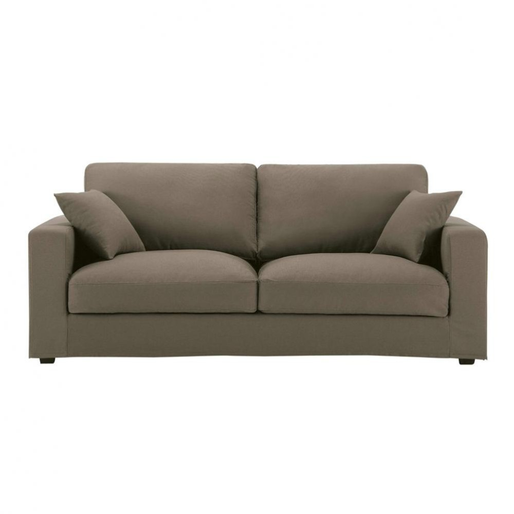 3 Seater Cotton Sofa In Taupe Chicago Maisons Du Monde