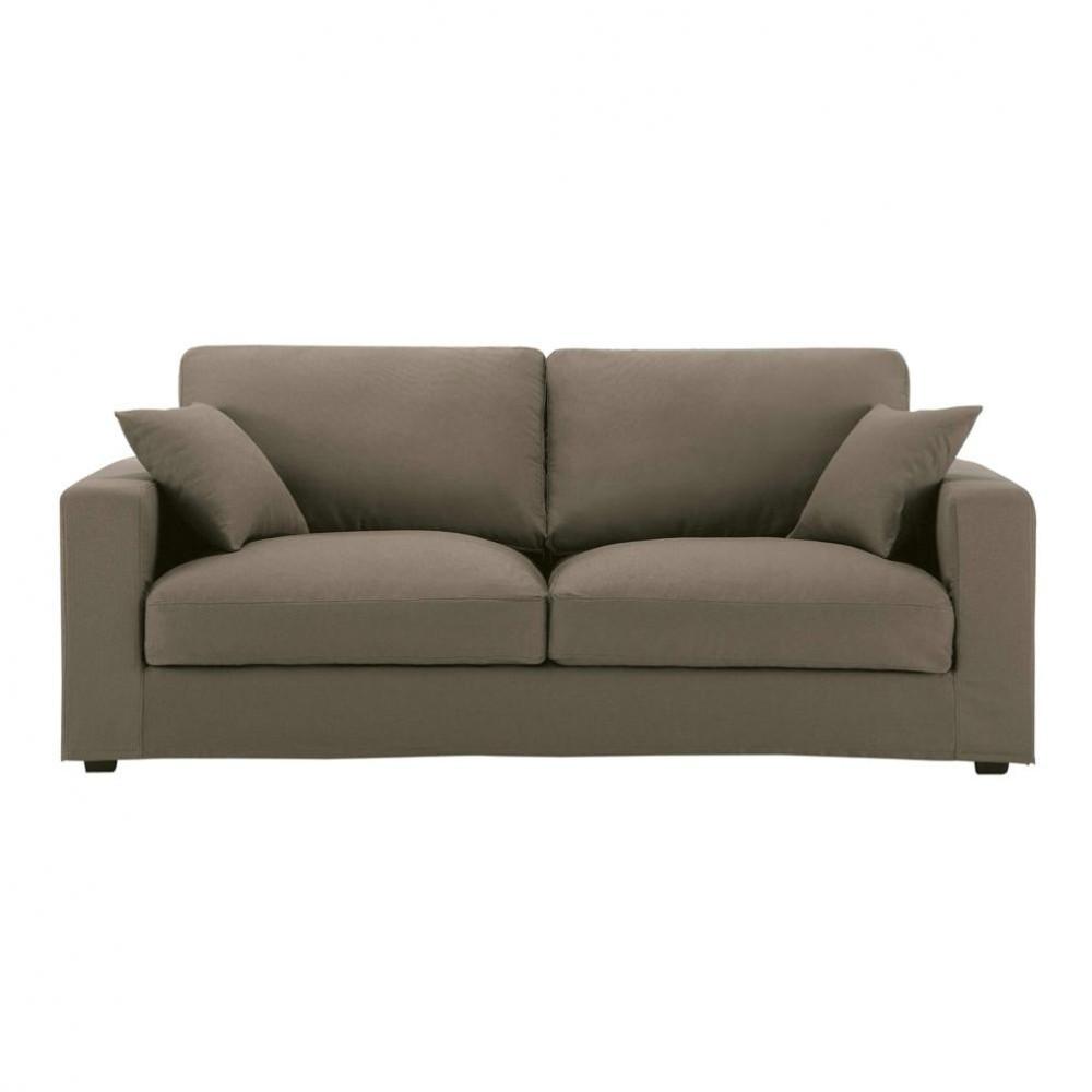 3 seater cotton sofa in taupe chicago maisons du monde. Black Bedroom Furniture Sets. Home Design Ideas