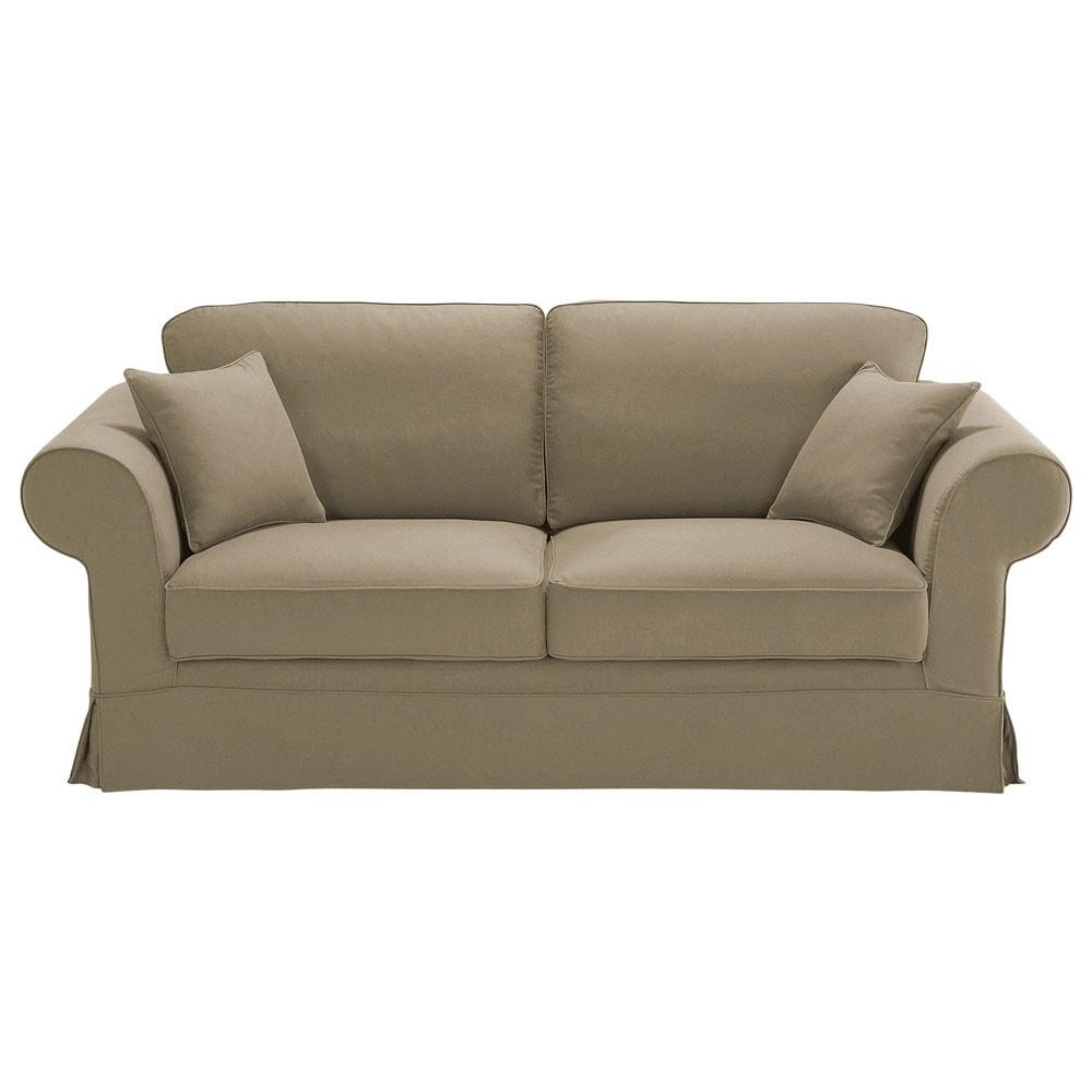 3 seater cotton sofa in taupe victoria maisons du monde. Black Bedroom Furniture Sets. Home Design Ideas