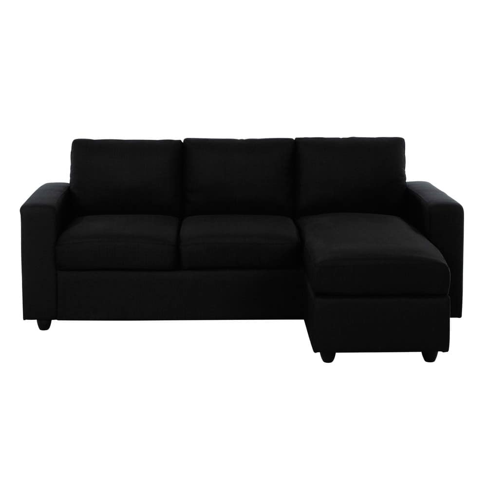 3 seater fabric corner sofa in black jules maisons du monde for Black fabric couches