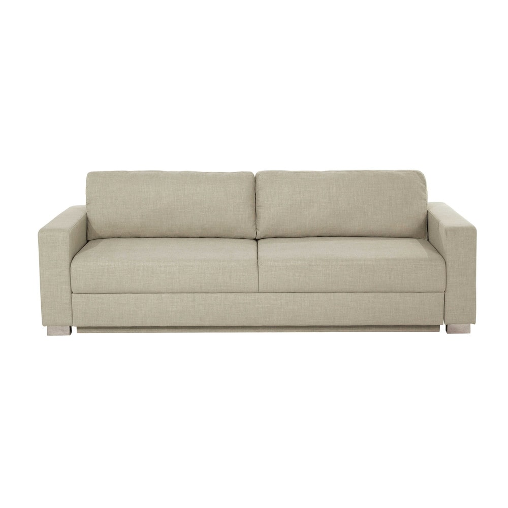 3 seater fabric sofa bed in beige urban maisons du monde for Sofa bed 3 seater