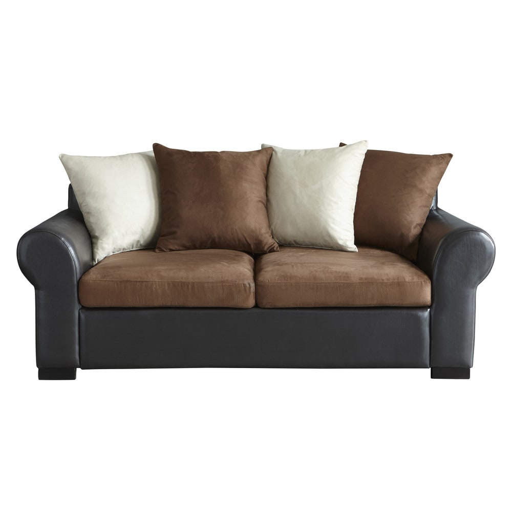 3 seater fabric sofa bed in brown antigua maisons du monde for Sofa bed 3 seater