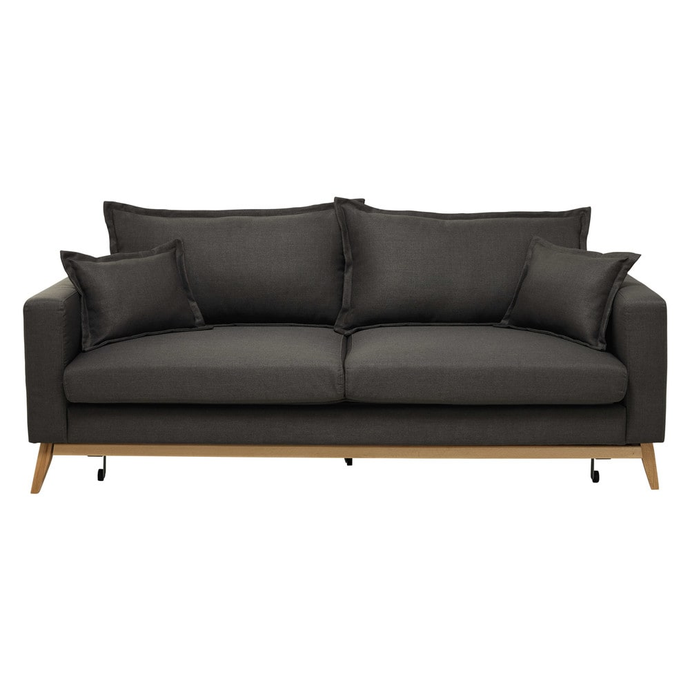 3 seater fabric sofa bed in grey brown duke maisons du monde. Black Bedroom Furniture Sets. Home Design Ideas