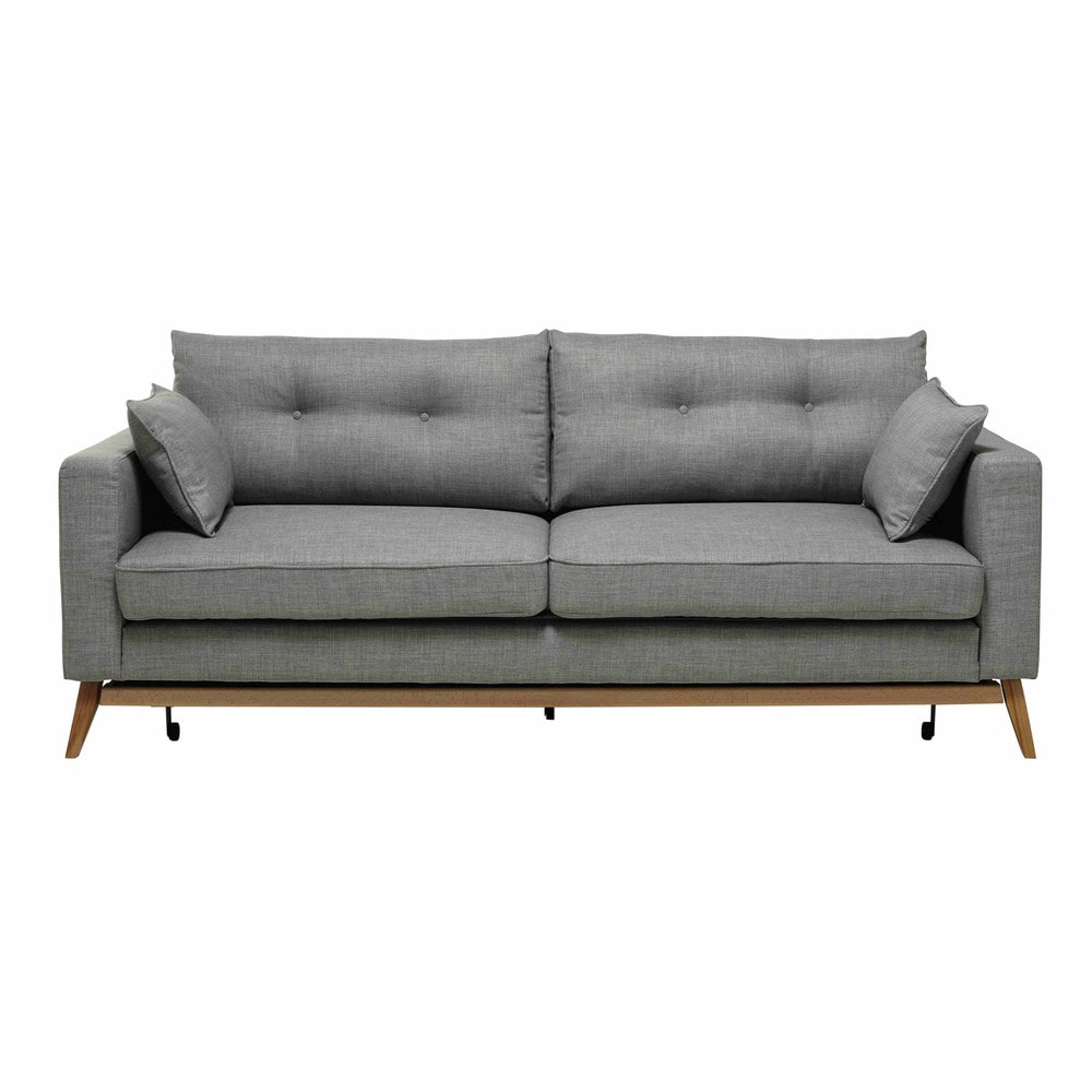 3 Seater Fabric Sofa Bed In Light Grey Brooke Maisons Du