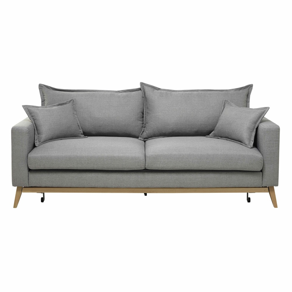 3 seater fabric sofa bed in light grey duke maisons du monde. Black Bedroom Furniture Sets. Home Design Ideas