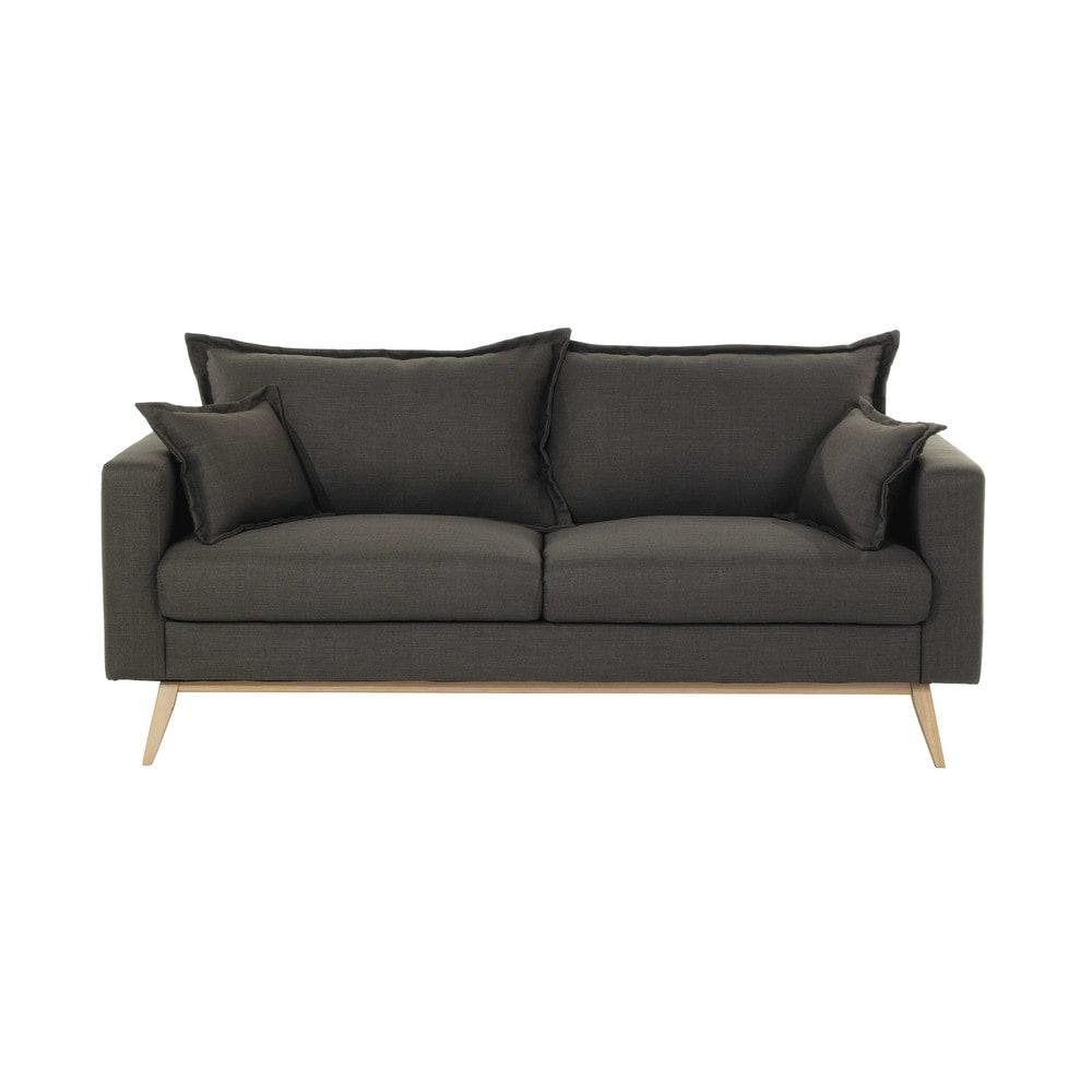 3 Seater Fabric Sofa In Grey Brown Duke Maisons Du Monde