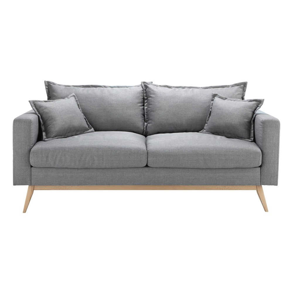 3 seater fabric sofa in light grey duke maisons du monde. Black Bedroom Furniture Sets. Home Design Ideas