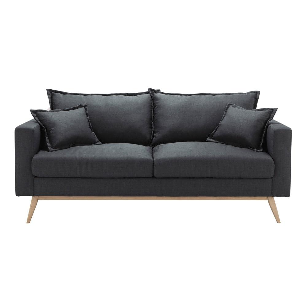 3 seater fabric sofa in slate grey duke maisons du monde. Black Bedroom Furniture Sets. Home Design Ideas