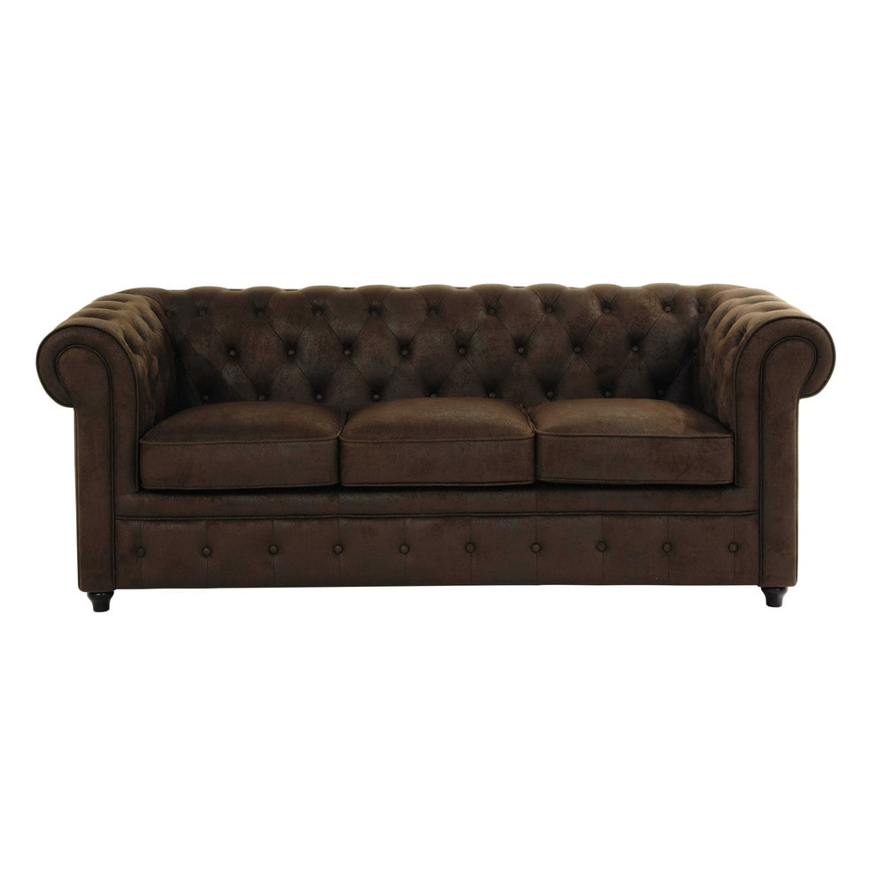 3 seater imitation suede button sofa in brown chesterfield. Black Bedroom Furniture Sets. Home Design Ideas