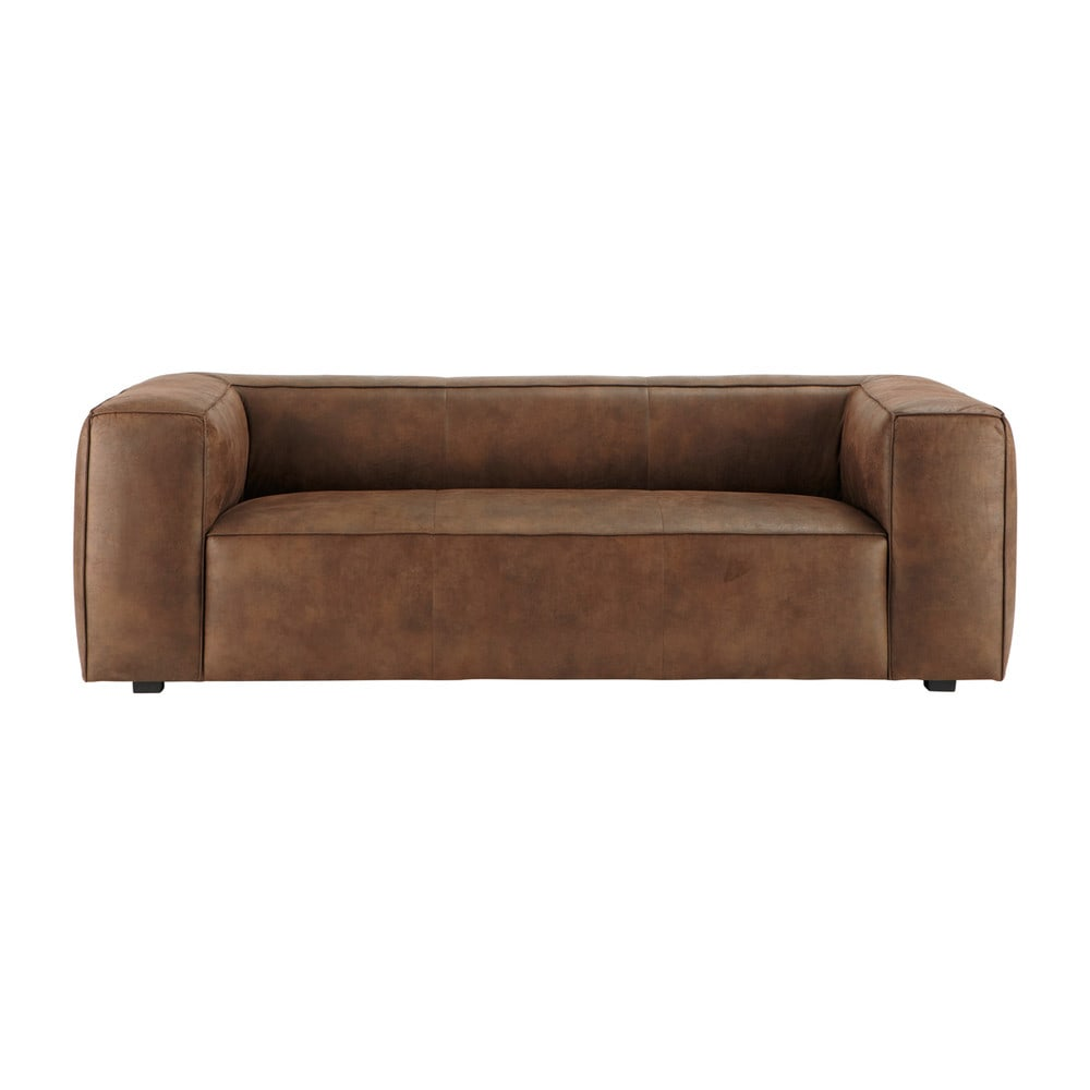 3 Seater Imitation Suede Sofa In Brown Smith Maisons Du Monde