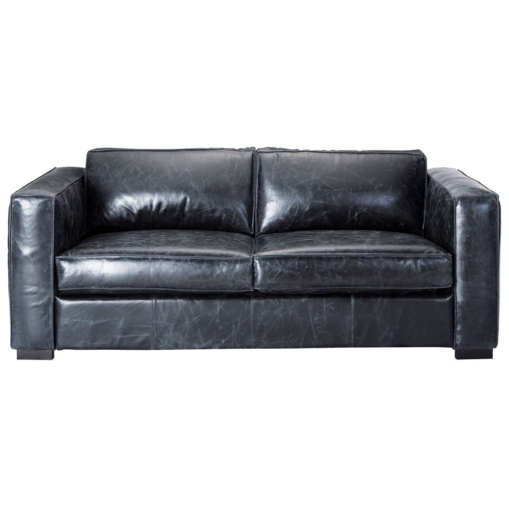 3 seater leather sofa bed in black berlin maisons du monde - Maison du monde sofa ...