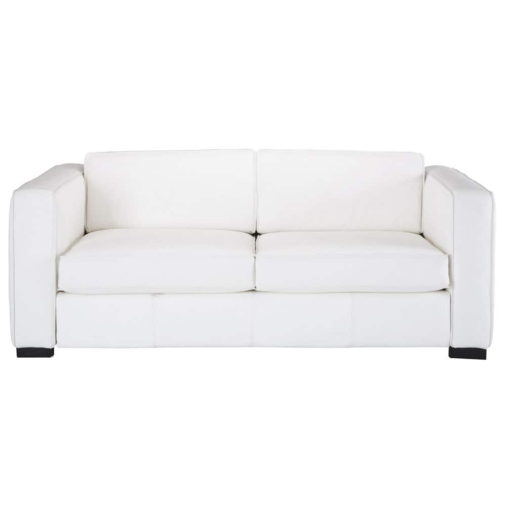 3 seater leather sofa bed in white berlin maisons du monde for Maison du convertible